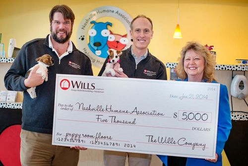 Wills with Nashville Humane Association Check