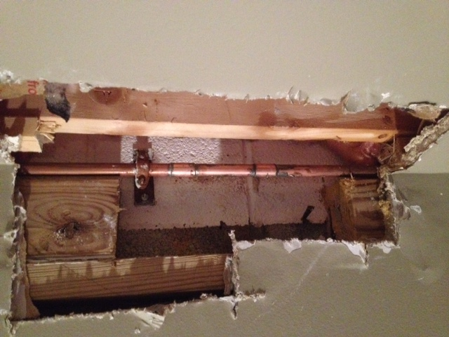 Busted pipe pic and drywall cut out